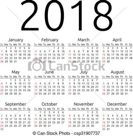 Kalendár Na Rok 2018 Vektory S T 233 Matem Kalend 225 ř Vektor 2018 Neděle