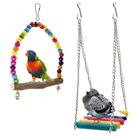 parakeet swing bird swings rusee wooden budgie toys pet bird cage