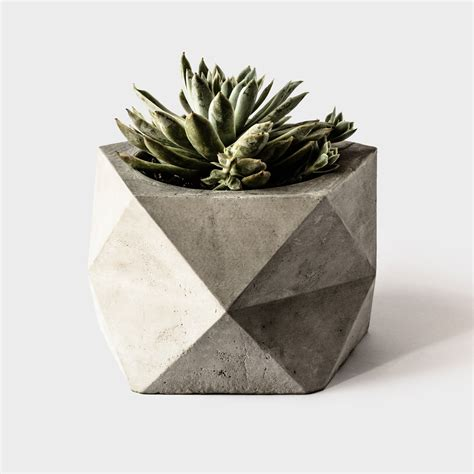 large cement planters pentoid large concrete geometric planter for by thearmoryco