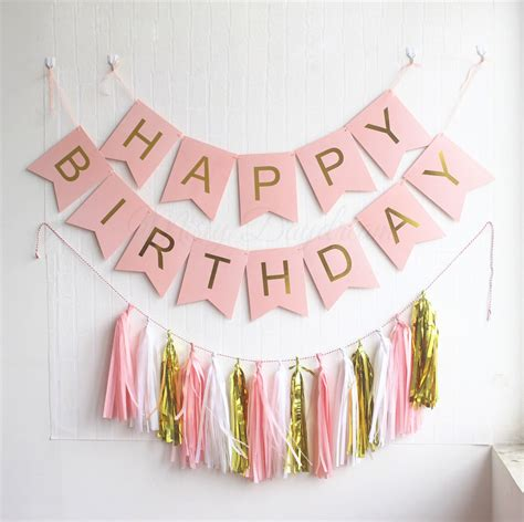rose themed banner gold pleated happy birthday pink banner 15pc tassels kit