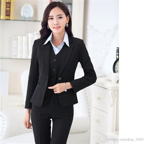 styles for working suits 2018 formal women business suits with pant blazer vest