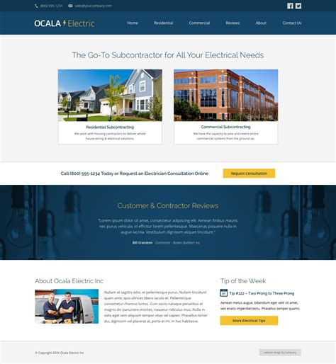 homepage design tips electrician website design exle web ideas cemah