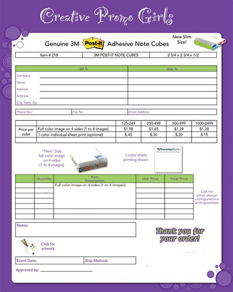 form 3m order form for genuine 3m post it adhesive note pads