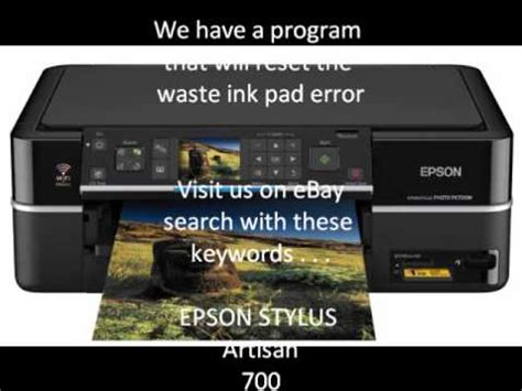 epson printer reset waste ink pad counter error epson stylus photo artisan 700 800 waste ink pad counter