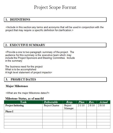 3 free project scope statement templates word excel