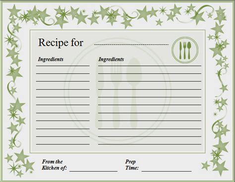 Free Recipe Card Template For Word by Recipe Card Template For Word Quintessence Pleasurable
