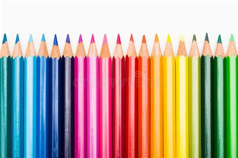 in color line up colour pencils lined up in row stock photo image of
