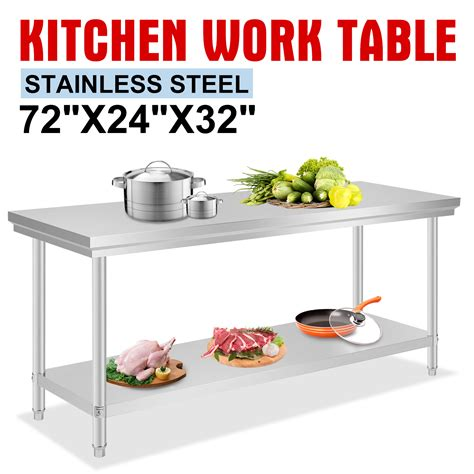 kitchen food preparation table stainless steel