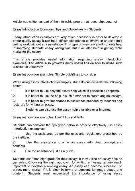 Essay Intro Exles by Introduction Essays