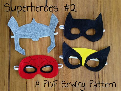 sewing pattern for spiderman mask batman spiderman wolverine and thor felt superhero mask