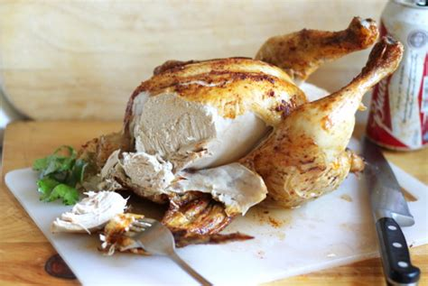how to cook an oven roasted beer can chicken recipe genius kitchen