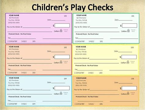 printable fake money and checks play checks printable personel play checks template pdf