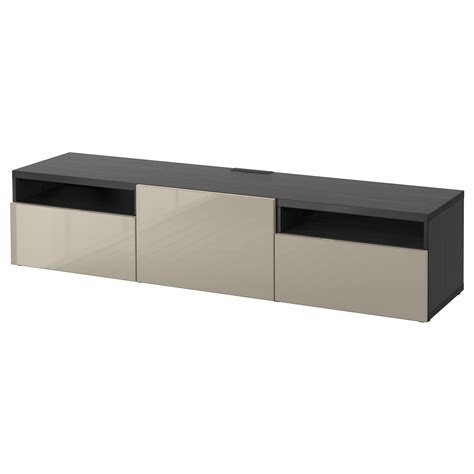 black high gloss tv bench best 197 tv bench black brown selsviken high gloss beige