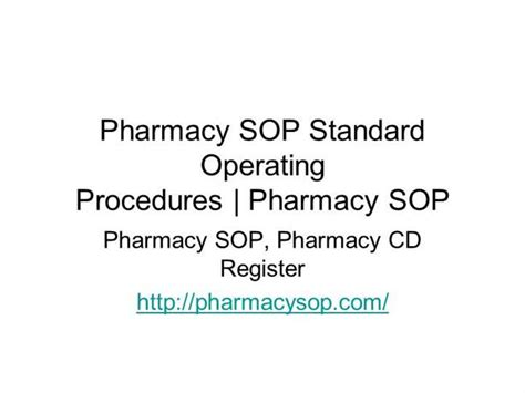 pharmacy standard operating procedures template pharmacy sop standard operating procedures authorstream