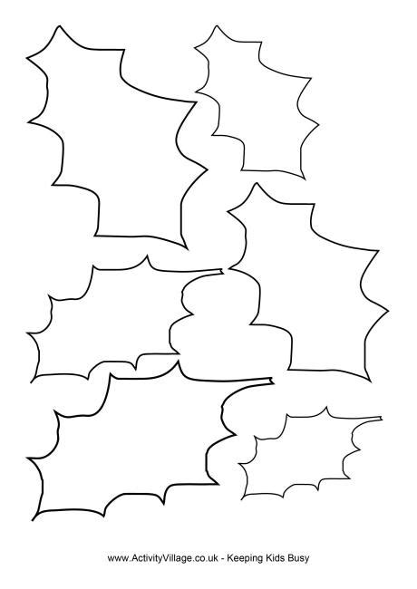 printable holly leaves holly template 2