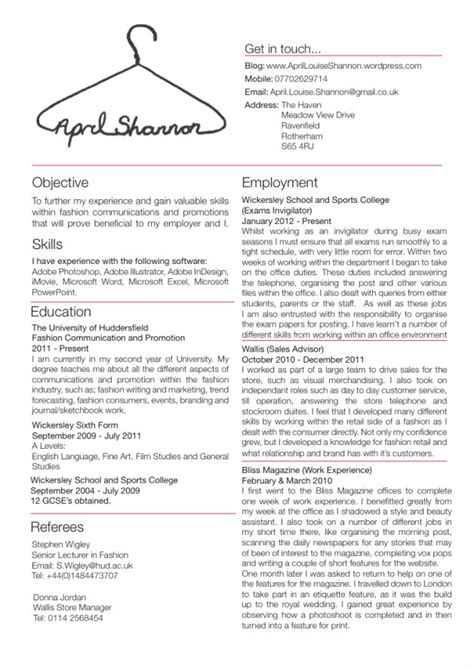 Fashion Resume Templates by Fashion Resume Templates Jobsxs