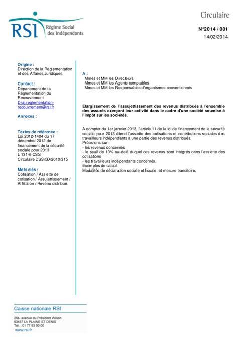 Exemple De Lettre Circulaire Rsi Lettre Circulaire 2014 001 Socialisation Des Dividendes Et Au