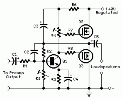 transistor mosfet irf9530 simple 30w mosfet audio power lifier by irf530 and irf953 circuit diagram world