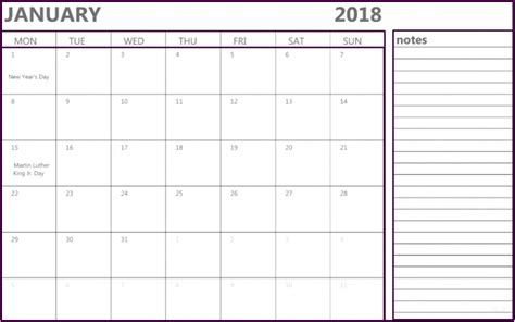 printable january 2018 calendar with notes january 2018 calendar notes printable office templates