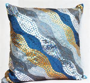 Blue And Gold Decorative Pillows Blue Throw Pillows With Silver Copper Sequins Silver