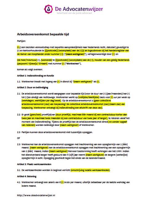 Letter Of Intent Voorbeeld Voorbeeld Arbeidsovereenkomst Bepaalde Tijd Gratis De Advocatenwijzer
