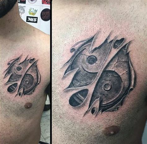tattoo 3d yin yang asian yin yang special cracked symbol tattoo on chest in