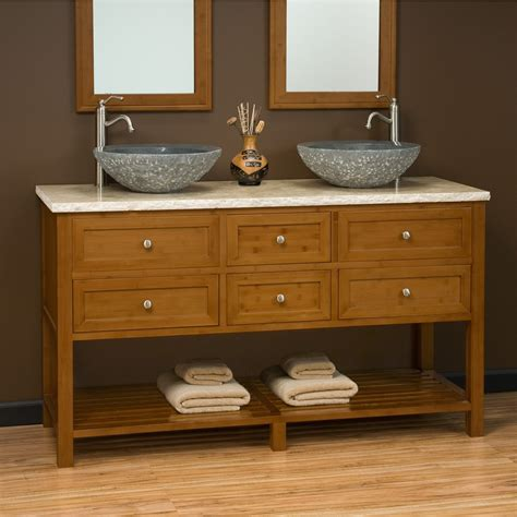 bathroom vanity for bowl sink 60quot jolon teak vanity console with teak top for vessel
