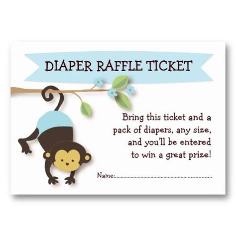 monkey baby shower diaper raffle ticket insert business