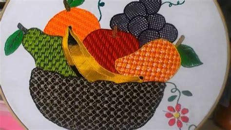 bordados de frutas en servilletas puntada fantasia canasta de frutas youtube
