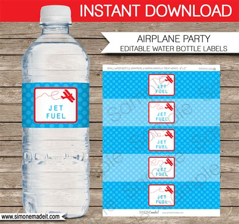 Airplane Birthday Party Water Bottle Labels Birthday Water Bottle Labels Template Free