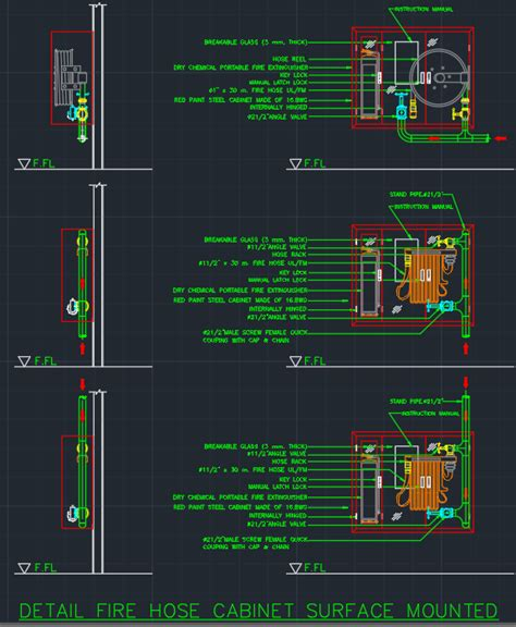 FIRE HOSE CABINET SURFACE MOUNTED     Free CAD Blocks And