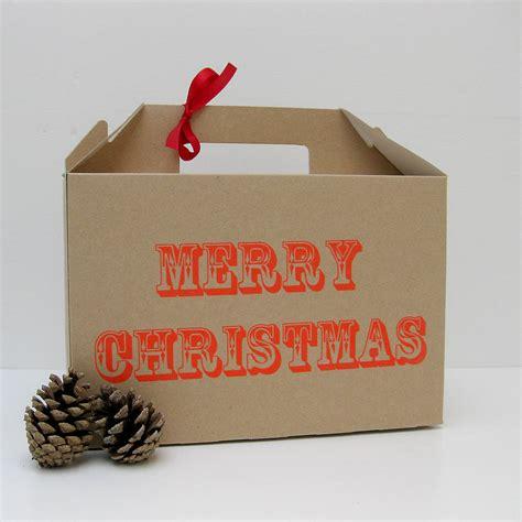 screen printed merry christmas gift box  rolfe wills notonthehighstreetcom