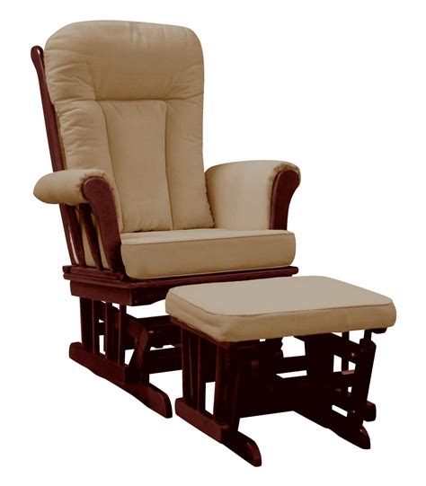 glider rocker with ottoman on me elysium glider rocker and matching ottoman with espresso glider with beige cushion