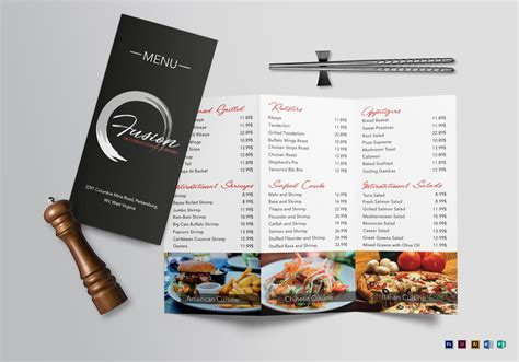 tri fold restaurant menu templates cuisine tri fold menu design template in psd word publisher illustrator indesign
