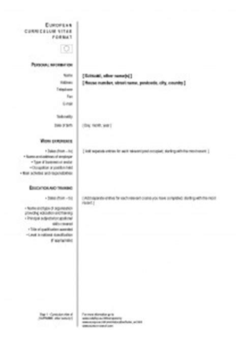 Modelos de CV: el currículum europeo | Modelo Curriculum