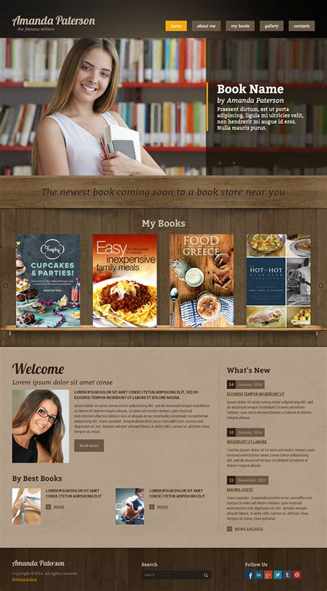 templates for books web sites book writer html template on behance