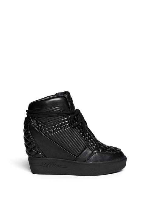wedge sneakers ash azimut textured leather high top wedge sneakers in