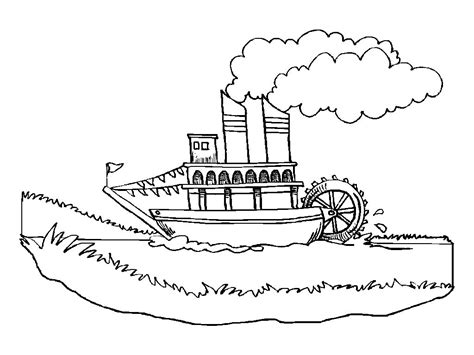 barco moderno dibujo barco vapor missisipi dibujalia dibujos para colorear