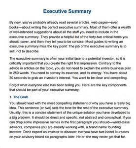 best executive summary template best photos of executive summary template word doc