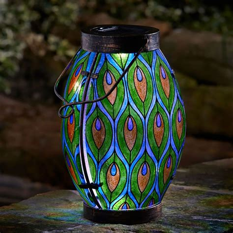 smart garden solar peacock feather stained glass lantern