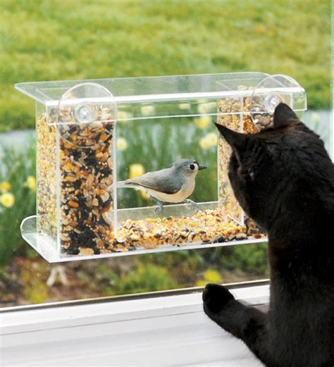 window mount see through clear plastic bird feeder gifts