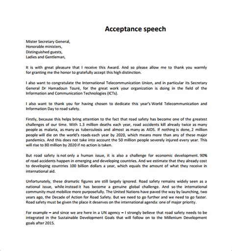 speech templates sle acceptance speech exle template 9 free