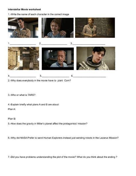 film quiz worksheet movie worksheet interstellar