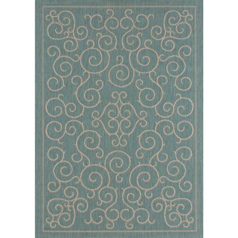 8 X 10 Outdoor Rug Hton Bay Scroll Aqua 8 Ft X 10 Ft Indoor Outdoor Area Rug 313440402403051 The Home Depot