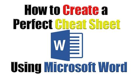 Tutorial How To Create The Perfect Cheat Sheet Using Microsoft Word Youtube How To Make A Microsoft Word Template