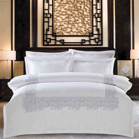 white  cotton solid color embroidery bedding