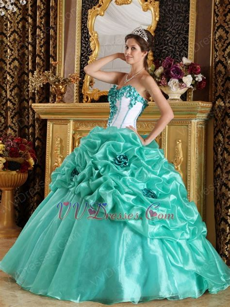 turquoise color dress turquoise blue quinceanera dress with made flowers