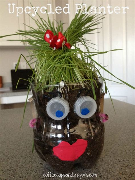 Pop Bottle Planters upcycled soda bottle planter coffee cups and crayons