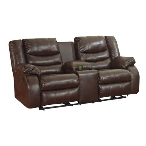 ashley linebacker sofa ashley linebacker leather reclining console loveseat in