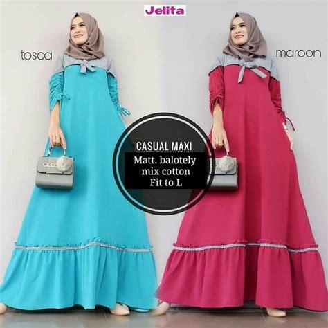 Blouse Muslim Grey Naura Pashmina gamis remaja casual maxi toska marun model baju gamis